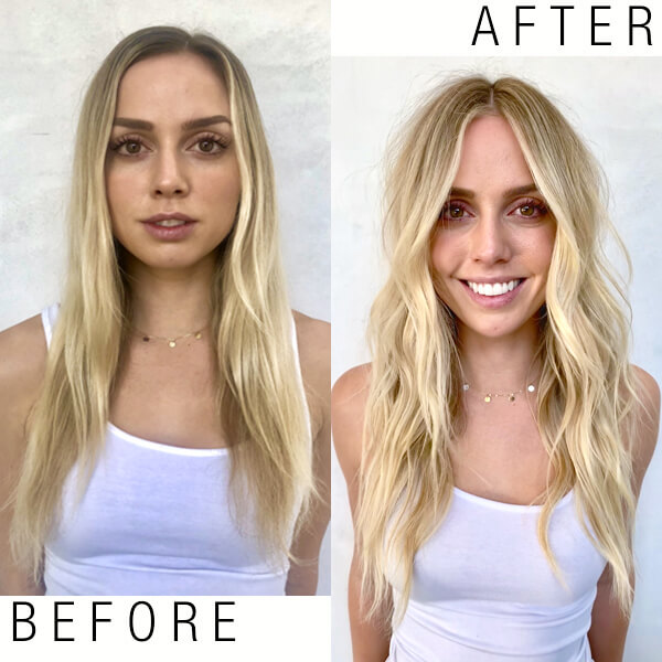Womens hair before and after coloring