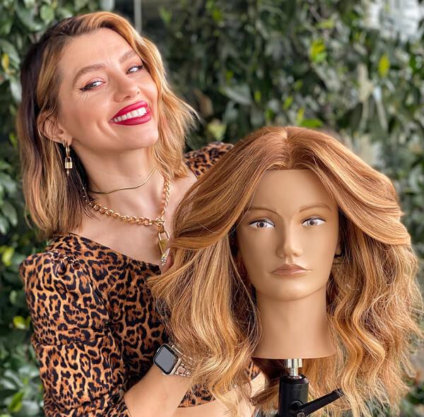 Larisa Love with mannequin head