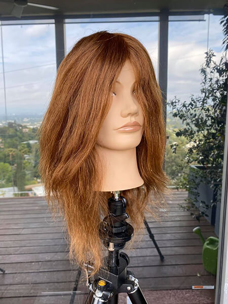 Mannequin head with hair before coloring
