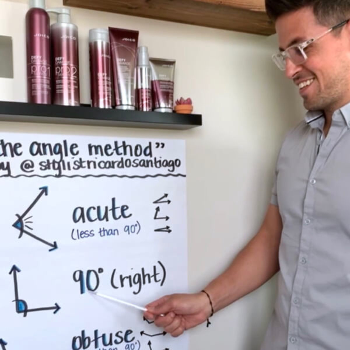 Ricardo Santiago showing hair formulas