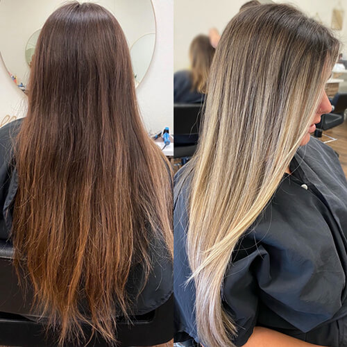 Model hair before and after highlights
