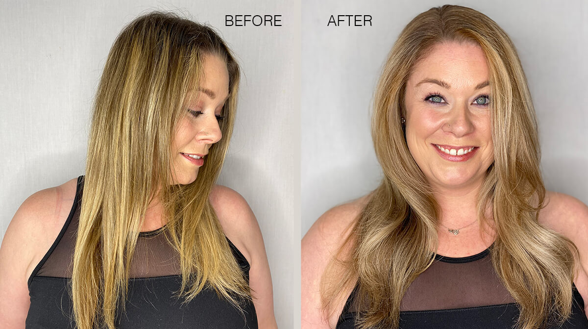 Model before and after hair color