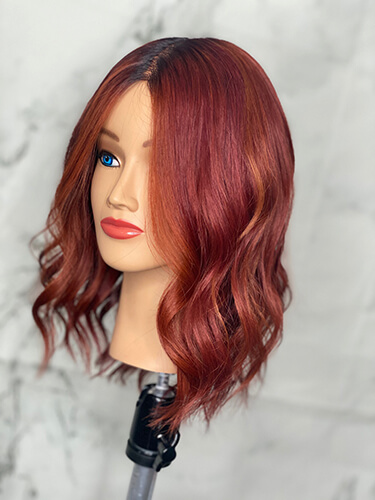 Mannequin with highlighted red hair