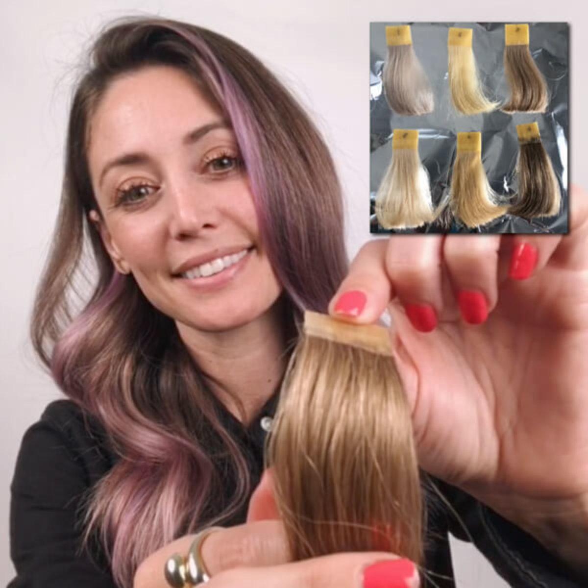 Hair Stylist Jill Buck with hair swatch