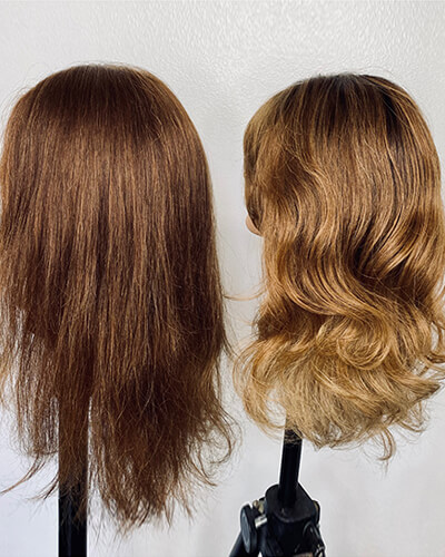 Mannequin before and after highlighted hair