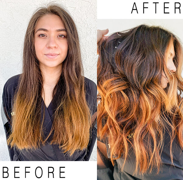Hair Color before and after highlights