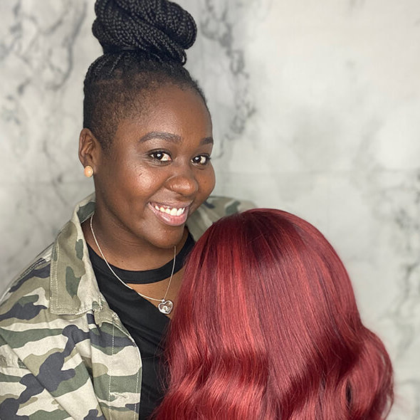 Mannequin head with red hair