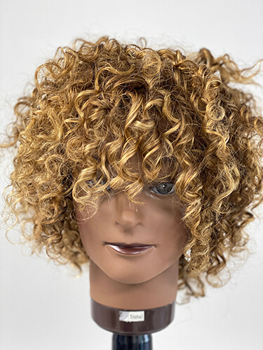 Mannequin head with curly highlights