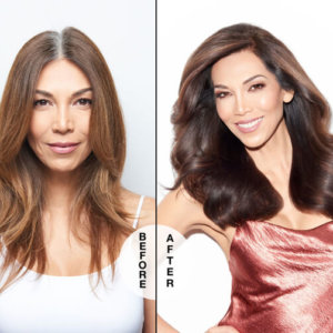 Women showing hair before and after coloring