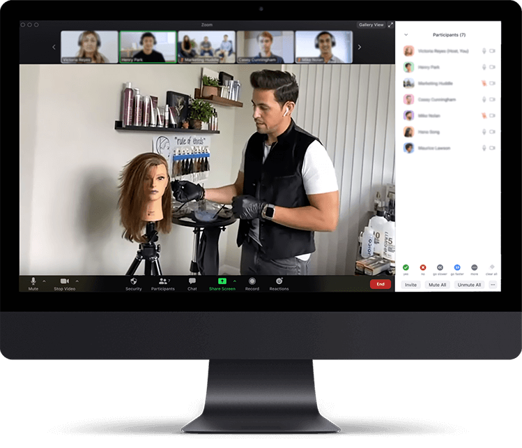 Virtual Classroom on Computer screen
