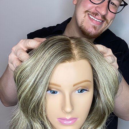 Mannequin head with blonde highlights