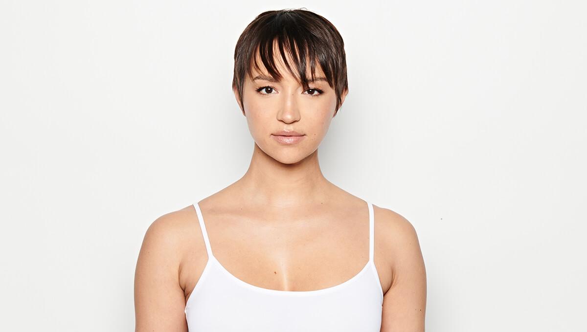 Model with brunette pixie hair