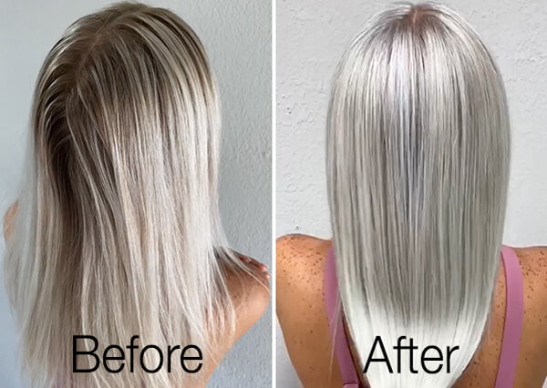 Icy blonde hair before and after coloring