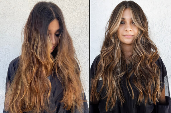 Brunette with carmel highlights before and after coloring