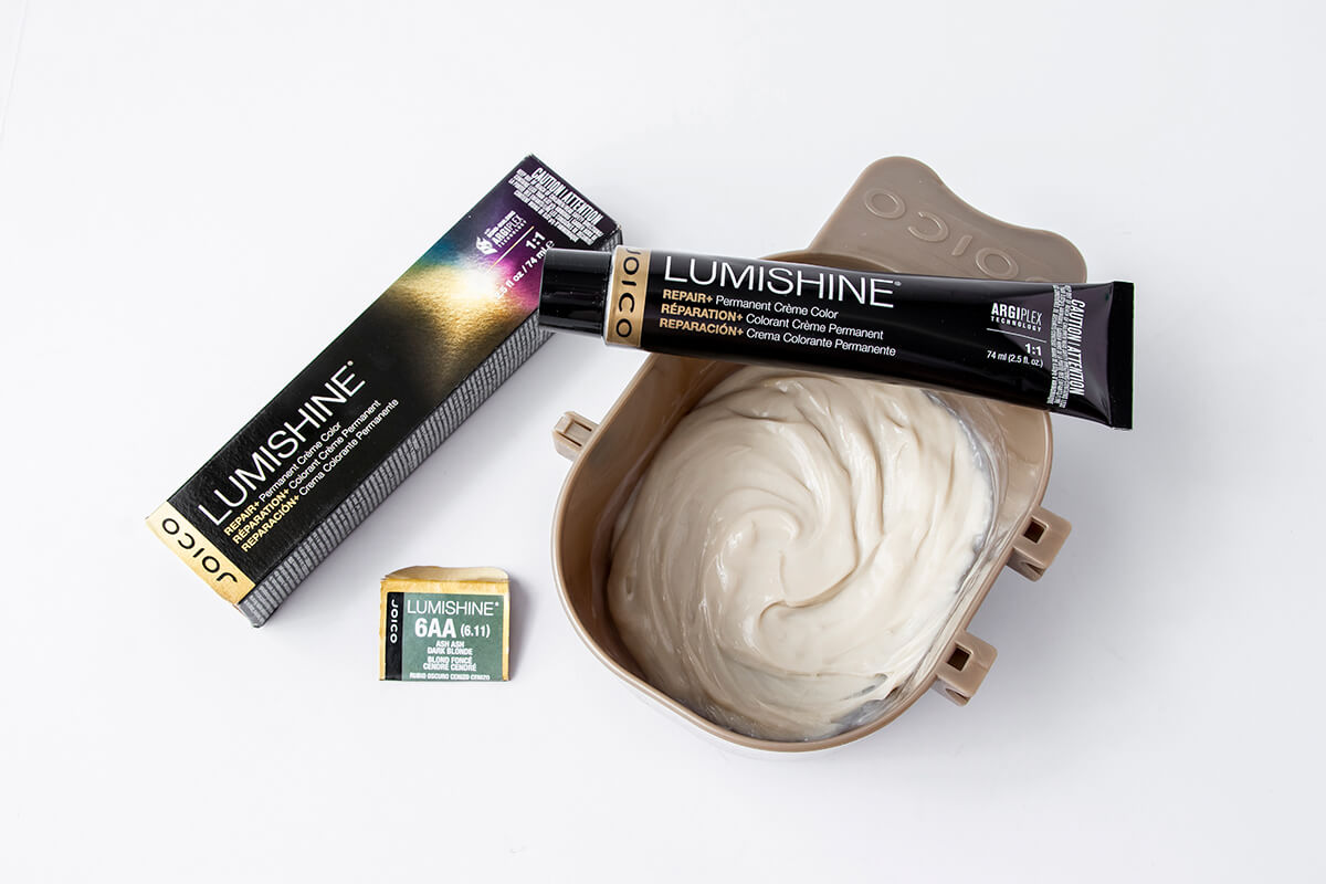 Joicp LumiShine hair dye in mixing bowl