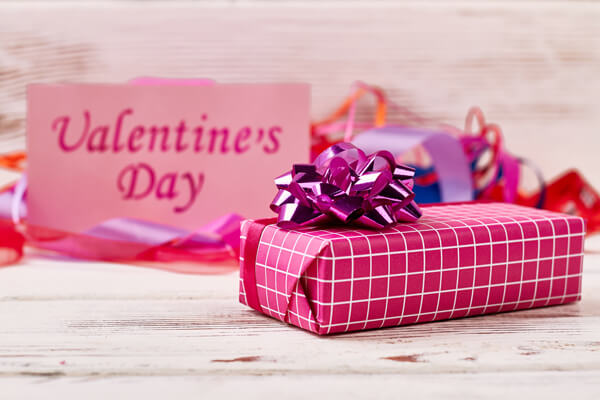 Gifts wrapped for Valentine's Day