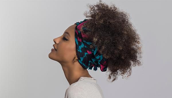 Womens hair in hairwrap
