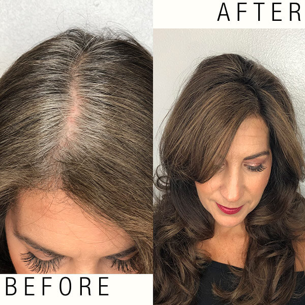 Women before and after hair coloring services to hide gray roots