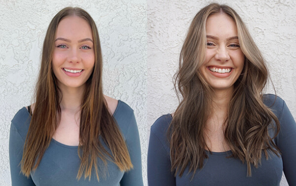 before and after picture of woman after getting hair done